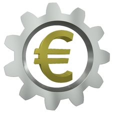 Free The Euro Sign In A Metal Gear Stock Image - 20739901