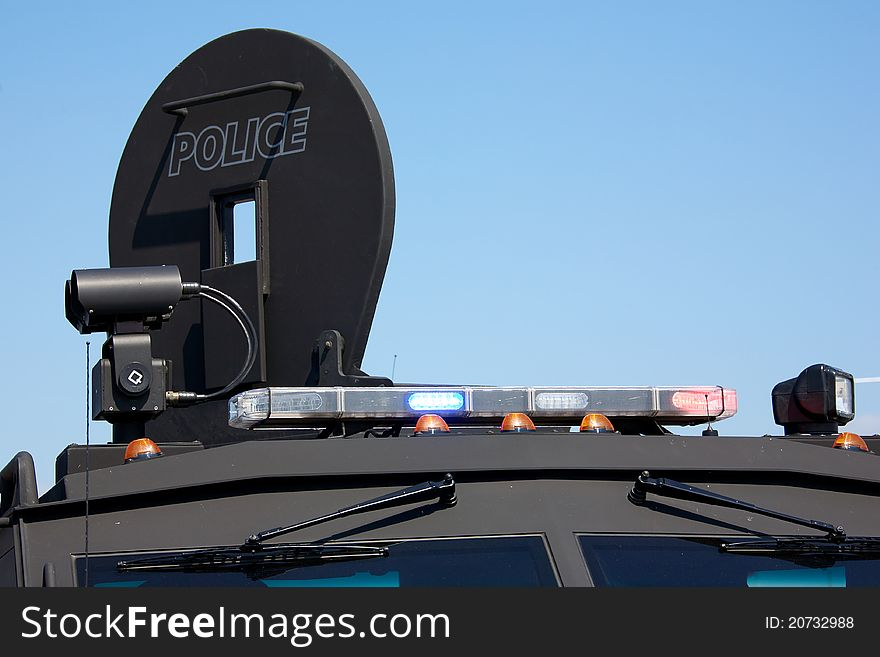 Lights on an armoured police vehicle