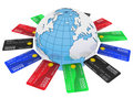 Free Multicolored Bank Cards Around The Earth Stock Photo - 20740280