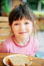 Free Cute Child Girl Has A Breakfast Outdoors Stock Photography - 20742132