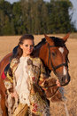 Free The Woman In Clothes Of 18 Centuries With Horse Stock Photography - 20744092