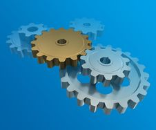 Free The Gear Wheels On A Blue Background Royalty Free Stock Images - 20740079