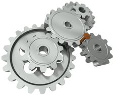 Free Nail Between Gears - A Symbol Obstacle In Business Royalty Free Stock Images - 20740119