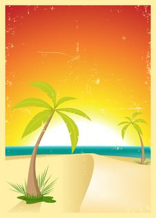 Free Exotic Beach Grunge Postcard Stock Image - 20740381