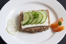 Free Bread With Chease And Cucumber Royalty Free Stock Photography - 20740427