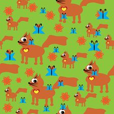 Pattern With Small Cartoon Cat On Grass Stock Photo