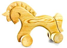 Wooden Horse On Wheels Stock Photography