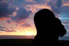 Free Sunrise At Rano Raraku, Easter Island Royalty Free Stock Photo - 20741435