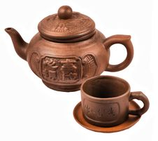 Free Brown Ceramic Traditional Chinese Tea Service Royalty Free Stock Image - 20741796
