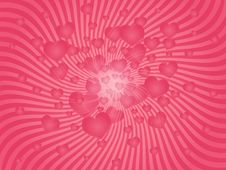 Pink Explosion Of Hearts Stock Images