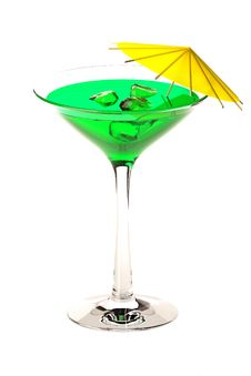 Free Martini Glass With Green Coctail Isolated On White Stock Photography - 20742572