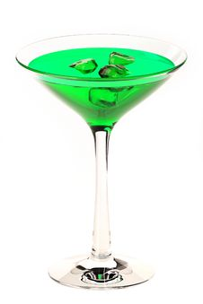 Free Martini Glass With Green Coctail Isolated On White Royalty Free Stock Photos - 20742578