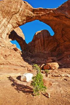 Double Arch In Arches National Park, Utah Royalty Free Stock Images