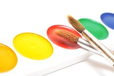 Closeup Water Color Paints And Brushes Stock Images