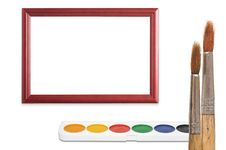 Free Paintbrush, Wood Frame And Paint Stock Photo - 20744140