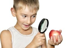 Free Boy With Magnifying Glass Stock Photography - 20744612