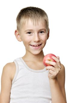 Free Boy With Red Apple Royalty Free Stock Photo - 20744635
