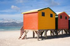 Free Colorful Beach Cabins Royalty Free Stock Photo - 20744925