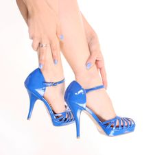 Free Blue Shoes On Sexy Legs Stock Image - 20745551