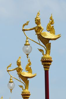 Free Decorated At Thai Street Lamp (Kinnaree) Stock Photography - 20746092