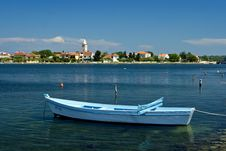 Small Fishing Boat And Seaview To Nin Royalty Free Stock Photo