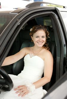 The Bride In The Car Stock Photos
