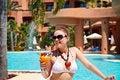 Free Beautiful Woman In Bikini Drinking Cocktail Stock Photo - 20758030