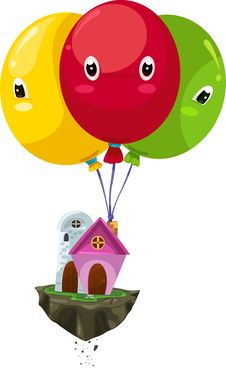 Free Flying Balloon House Vector Royalty Free Stock Images - 20750119