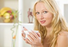 Free Woman With Cup Tea At Home Stock Photos - 20750793
