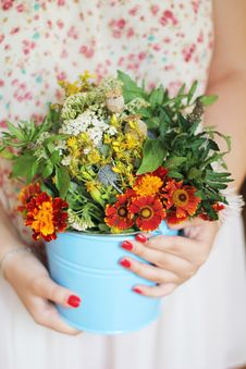 Free Flowers In A Bucket Royalty Free Stock Photography - 20752257