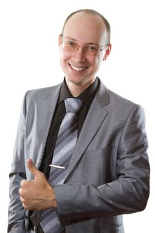 Free Smiling Business Man With His Finger Shows Positiv Royalty Free Stock Photography - 20753687