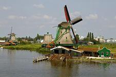 Zaanse Schans Historic Windmills Royalty Free Stock Photography