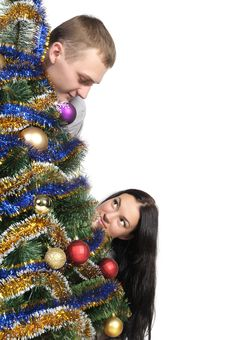 Free Man And Woman Near Christmas Tr Stock Photos - 20754983