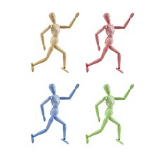Collection Of Artist Mannequin In Various Colors R Stock Images