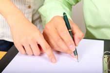 Free Two Businesspeople Signing A Letter Stock Photos - 20756303