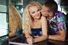 Couple In The Restaurant Royalty Free Stock Photo