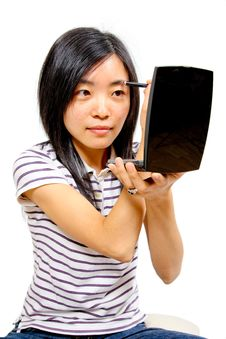 Free Young Chinese Woman Putting On Makeup Stock Image - 20756411