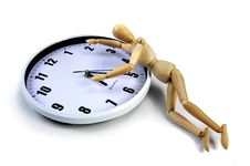 Artist Mannequin On A White Clock Royalty Free Stock Photography