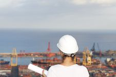 Free Engineer Looks At Port Stock Images - 20757344
