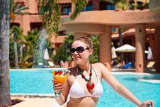 Beautiful Woman In Bikini Drinking Cocktail Stock Photo