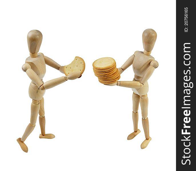 Artist Mannequin sharing cookies