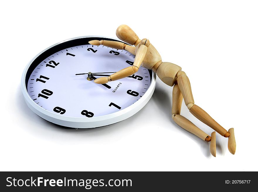 Artist Mannequin on a white clock