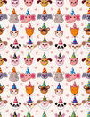 Free Cartoon Party Animal Head Seamless Pattern Stock Photography - 20760332