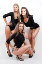 Free Group Of Three Sexy Ladies In Black Body Suits Royalty Free Stock Photography - 20761587
