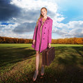 Free Girl With Vintage Suitcase On Field Royalty Free Stock Image - 20769606