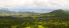 Panoramic Image Of A Tropical Valley In Oahu Stock Images