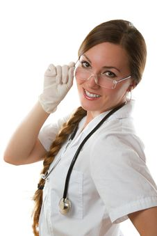 Free Smiling Nurse In White Medical Coat With A Stethos Stock Image - 20760801