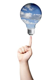 Free Finger Pointing To Light Bulb Of Sky Stock Images - 20761024