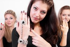 Group Of Three Girls Showing Their Jewelery Royalty Free Stock Image