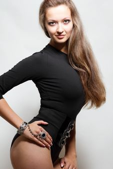 Free Sexy Young Lady In Black Body Suit Stock Photography - 20761792